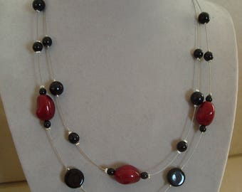 Black and red double fashion necklace