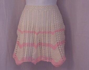 Vintage half Apron Hand Crocheted Apron