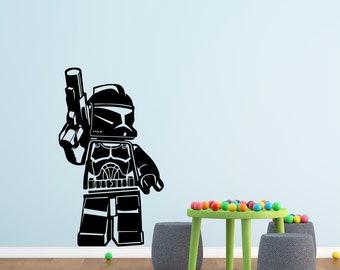 Star Wars Wall Decal - Stormtrooper Nursery Art Decor - Custom Star Wars Sticker Kids Vinyl Playroom Mural Personalized Gift