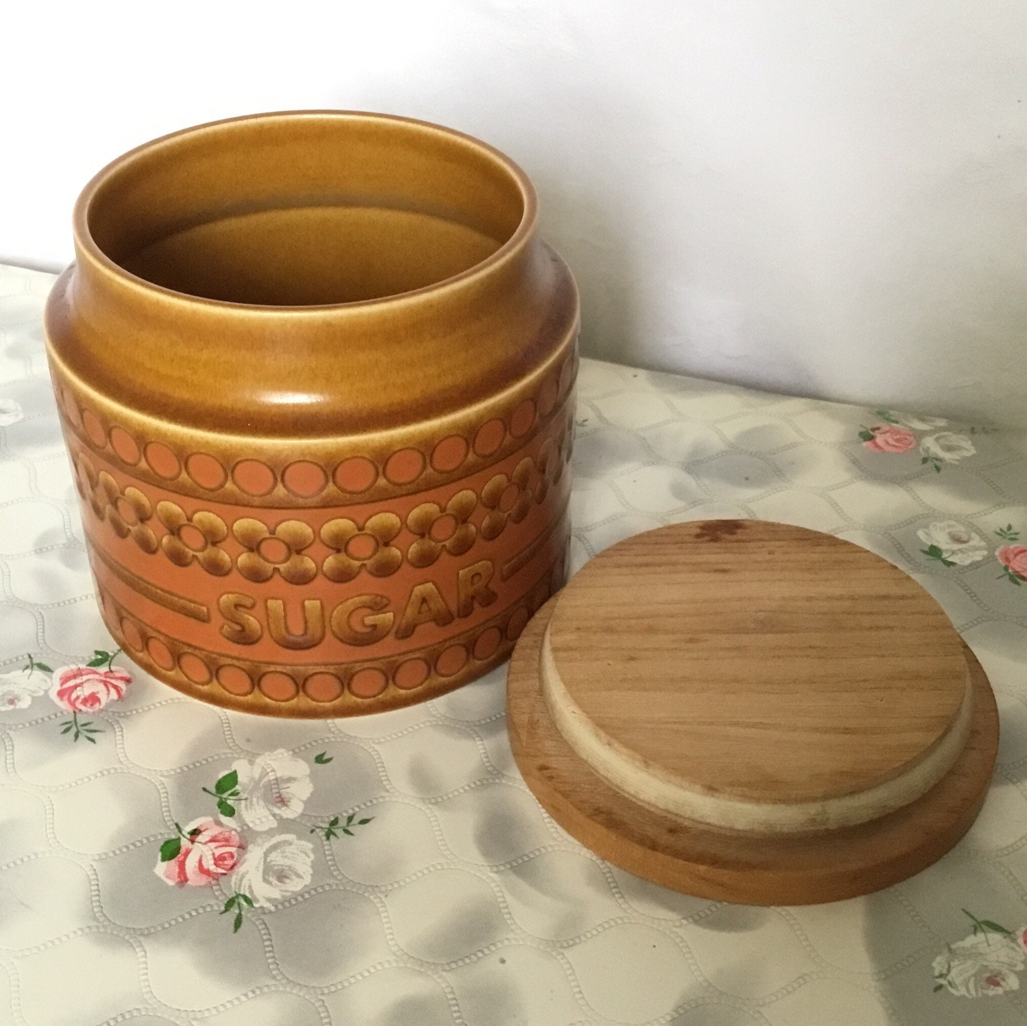 This 1977 Hornsea Saffron Sugar Canister Or Vintage Kitchen Storage