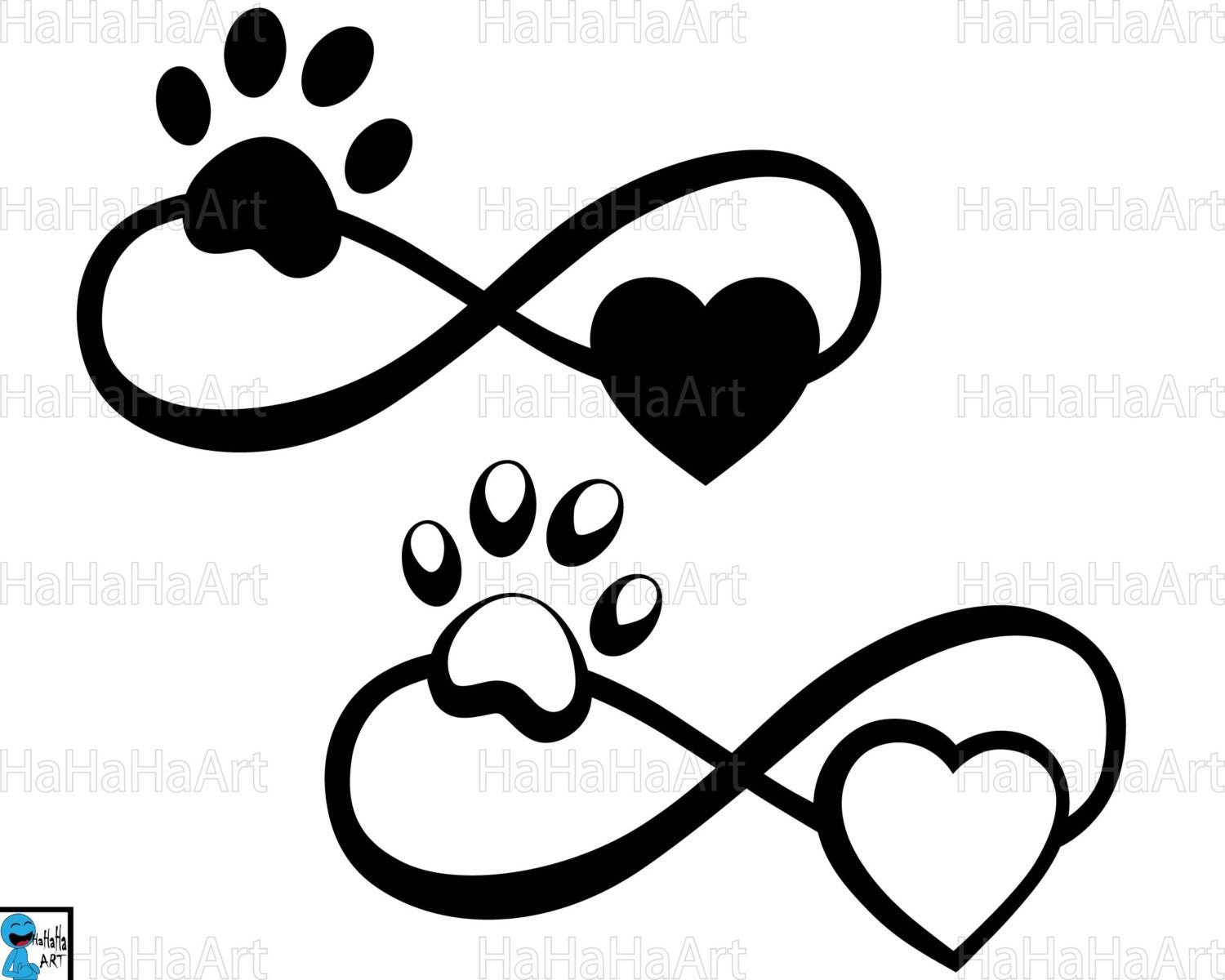 Infinity with paw and heart cutting files clipart svg png zoom biocorpaavc