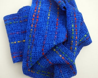 Handwoven chenille scarf royal blue 6 by 76 inches
