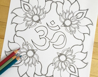 Om Blooms - Hand Drawn Adult Coloring Page Print