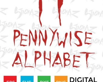 IT Alphabet, Pennywise font, typeface, Cutting file download SVG, eps, DXF, png
