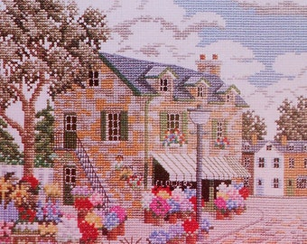 Cross Stitch Pattern | Julia Lucas NEW ENGLAND Flower Shop Picture - Counted Cross Stitch Pattern Chart - fam