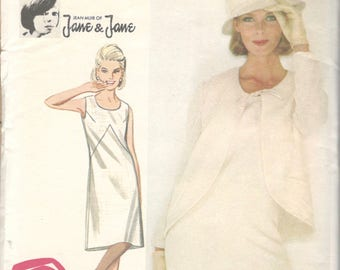 1960s Butterick 3494 JANE MUIR Misses Mod A Line Sleeveless Dress and Jacket  Pattern Womens Vintage Sewing Pattern Size 14 Bust 34 Or 18