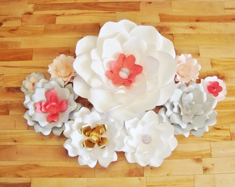 Paper Flowers - Set of 9 | Baby Nursery Decor | Paper Flower Backdrop | Wedding Flowers | Paper Flower Wall | Paper Flower Art