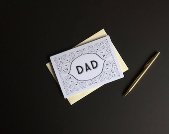 Monochrome Dad Card - Black and White Card, Cards for Dads, Typography Card, Blank Greeting Card, Blank Cards