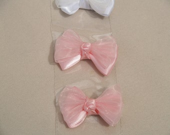 Satin & Organza Infant Hair Bow, White, Pink, Robins Egg Blue, Ivory, Mint Green, Clip Style, Single Bow #133, Baptism,Christening,Blessing