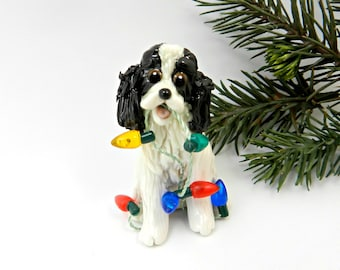 Cocker Spaniel Black White Porcelain Christmas Ornament Figurine with Lights