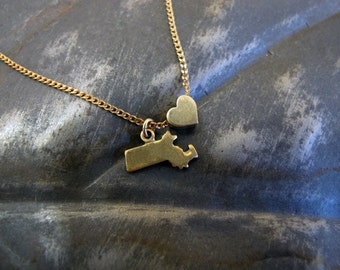 Massachusetts Love - State Charm Necklace - 18 Inches