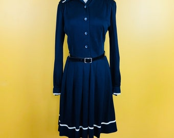 Vintage 1970s Navy  Blue Dress with White Trim