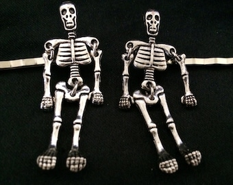 Set Of 2 Silver Metal Hair Pins Featuring Silver Metal Articulated Skeletons