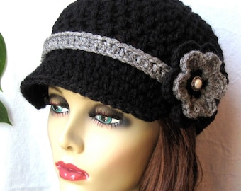 Womens Hat, Teen Black Newsboy, Grey Band, Flower, Black or Pick Color, Pearl Button, Gifts for Her, Birthday Gifts JE148NFB6