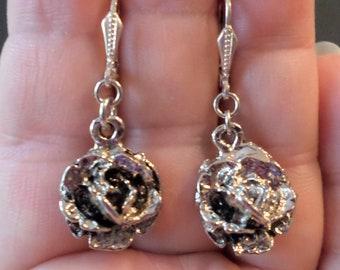 Sterling Silver 925 Stamped, Dangle Petal Flower Earrings.
