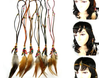 Real Natural Feather Faux Suede Wood Beads Hippie Boho Indian Costume Long Necklace Headband Hairband Headpiece Hair Accessory Fashion Gift