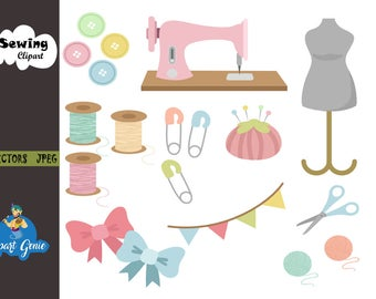 Sewing clipart, sewing clip art, sewing machine, Thread Clipart, seamstress tools, mannequin clipart, needle clipart, thread clipart