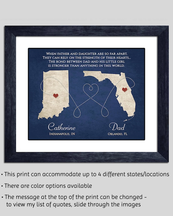 For Dads that are far, far away from their daughters, this is the perfect Father's Day gift--personalized to your states. So sweet.