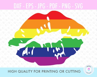 Kiss, Rainbow Lips, Gay Pride, svg file, silhouette, cricut, screen printing, graphic design, digital cut files, SVG, DXF, PNG, S34