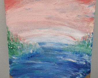 "Abstract Beach Lake acrylic painting on 11×14"" Canvas Panel (flat)"