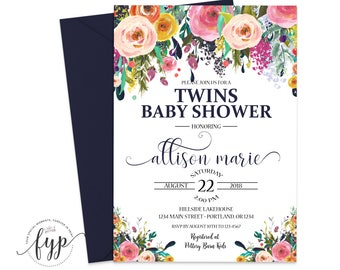 Twins Baby Shower Invitation - Navy Baby Shower Invitation - Baby Twins Invitation - Baby Shower Invite - Baby Boy Twins - Twins Invitation