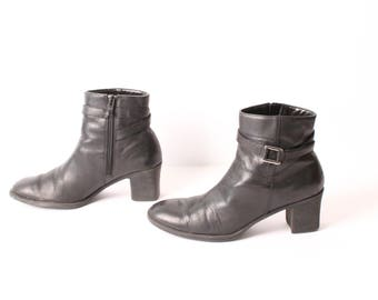 size 7.5 CHELSEA black leather 80s 90s BUCKLE zip up ankle boot