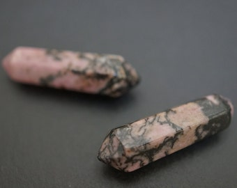 Polished Natural Rhodonite  6 Sides Double Terminated Two Points Wand Dark Pink Black Mixed - 30mm x 8mm - 1 piece - NO COUPONS