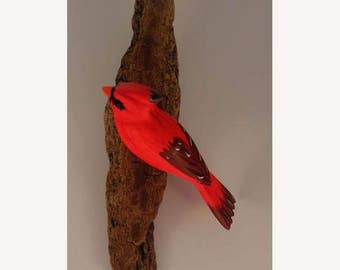 Cardinal - left facing. Handcrafted, carved  wooden bird, painted bird, home decor, wall decor, Made in USA
