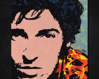 "BRUCE SPRINGSTEEN Pop Art Painting - New ORIGINAL, Acrylics 8""X 10"". E Street band. Classic Rock. Nice for any Springsteen fan! 70s 80s Boss"
