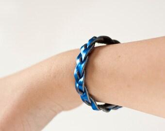 Braided Leather Bracelet / Metallic Blue