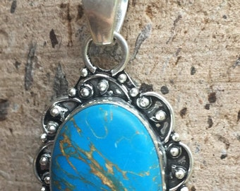 Blue Copper Turquoise 925 Necklace, Turquoise Silver Necklace, Copper Turquoise Necklace, Sterling Silver Turquoise Necklace, Gemstone