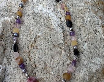 Tourmaline Necklace, Sterling Silver, Amethyst, Citrine Gemstones