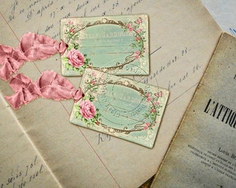 Shabby Chic Gift Tags - French style - Floral gift tags No 02 - Eco-friendly paper