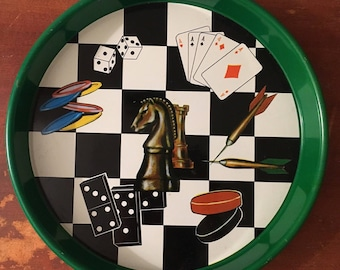 Vintage Game Themed Serving Tray - Chess, Darts, Poker, Checkers, Bar Room, Man Cave, Game Room Decor, Dice, Dominoes