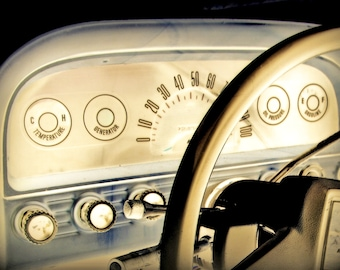 Chevy Blue is a photographic art print of a '63 Chevy Stepside dashboard
