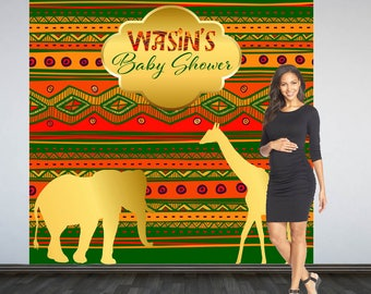 African Baby Shower Backdrop- Photo Booth Backdrop- Tribal African Safari Baby Shower Backdrop, Custom Backdrop, Party Backdrop