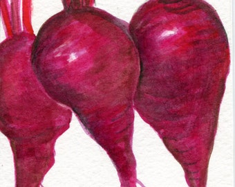 Beets watercolor painting original,  vegetable illustration 4 x 6, beet art, kitchen decor, original watercolor painting red beets