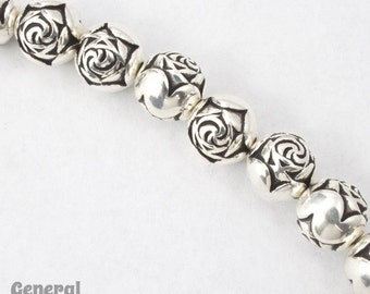 9mm Antique Silver Rose Bead  #MPA016