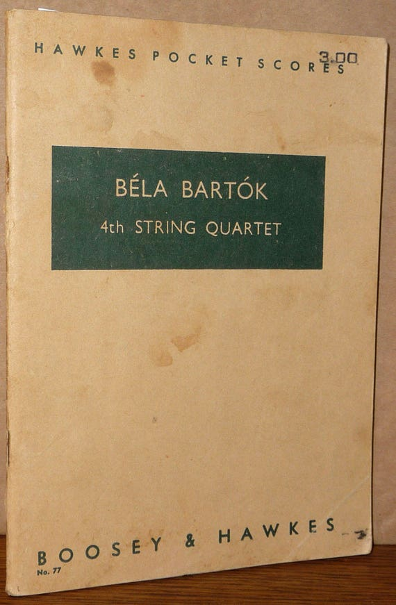 Bela Bartok 4th String Quartet (Hawkes Pocket Scores No. 77) Music Study Score 1939 Boosey & Hawkes
