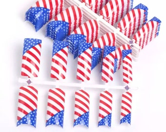 "Patriotic Red White and Blue ""Flag"" Nail Tips 10pcs   AQ13"