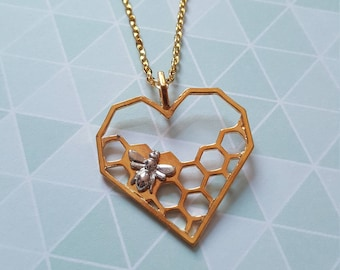 Honeycomb necklace, Honeybee necklace, Heart necklace, Honeybee jewellery, Bee jewellery, Honeycomb, Honeybee, Bee, Nature, Insects
