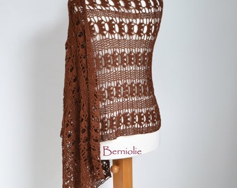 Lace crochet shawl, brown, cotton M182