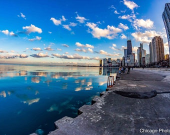 Chicago Photo | Chicago Skyline | City Skyline | Fisheye Photography | Wall Art | Wall Decor | Art Print