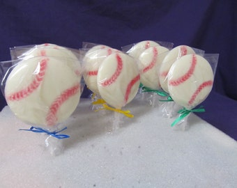 Baseball  chocolate lollipops 12