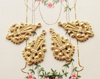 Ornate Victorian Brass Filigree Earring Dangles Drops Charms Raw Brass Stampings 22mm Long – 4