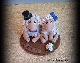 Wedding Cake Topper, Custom Sheep, Lamb, Personalized Polymer Clay Wedding/Anniversary Keepsake, Animal