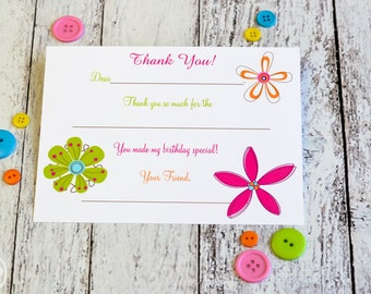 Flower Kids Fill In The Blank Thank You Notes / Kids Thank You Notes Fill In The Blank Large Flowers Design / Flower Thank You Notes
