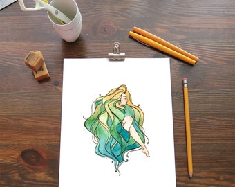 Giclee Print - Original Watercolor Painting - Hair Woman PRINT