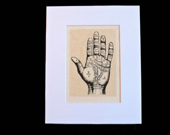 Palmistry illustration, curiosity, occult, astrology, unusual decor, unique gift, astrology, antique reproduction
