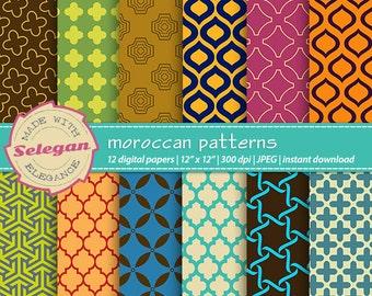 moroccan patterns, digital scrapbook paper, 12x12, printable, arabic pattern, islamic texture, eid, background, download, 300dpi